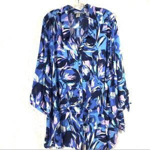Blue lilac floral shirt top blouse 3/4 sleeves NWT